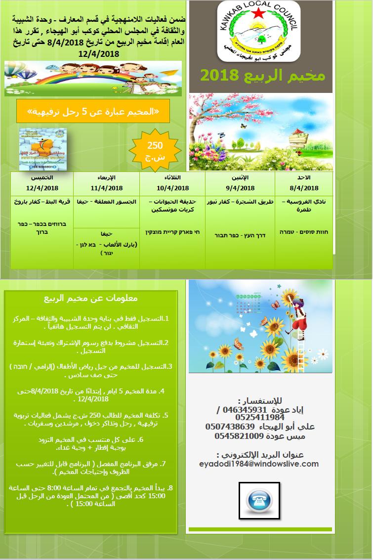 مجلس كوكب ابو الهيجاء المحلي- قسم المعارف - وحدة الشبيبة والثقافة:مخيم الربيع للعام 2018